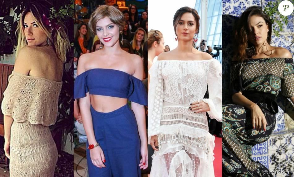 As atrizes Giovanna Ewbank, Isabella Santoni, Thaila Ayala e Isis Valverde  são algumas das celebridades adeptas aos looks com o decote ombro a ombro