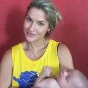 Andressa Suita posa com sobrinho recém-nascido de Gusttavo Lima: 'Treinando'