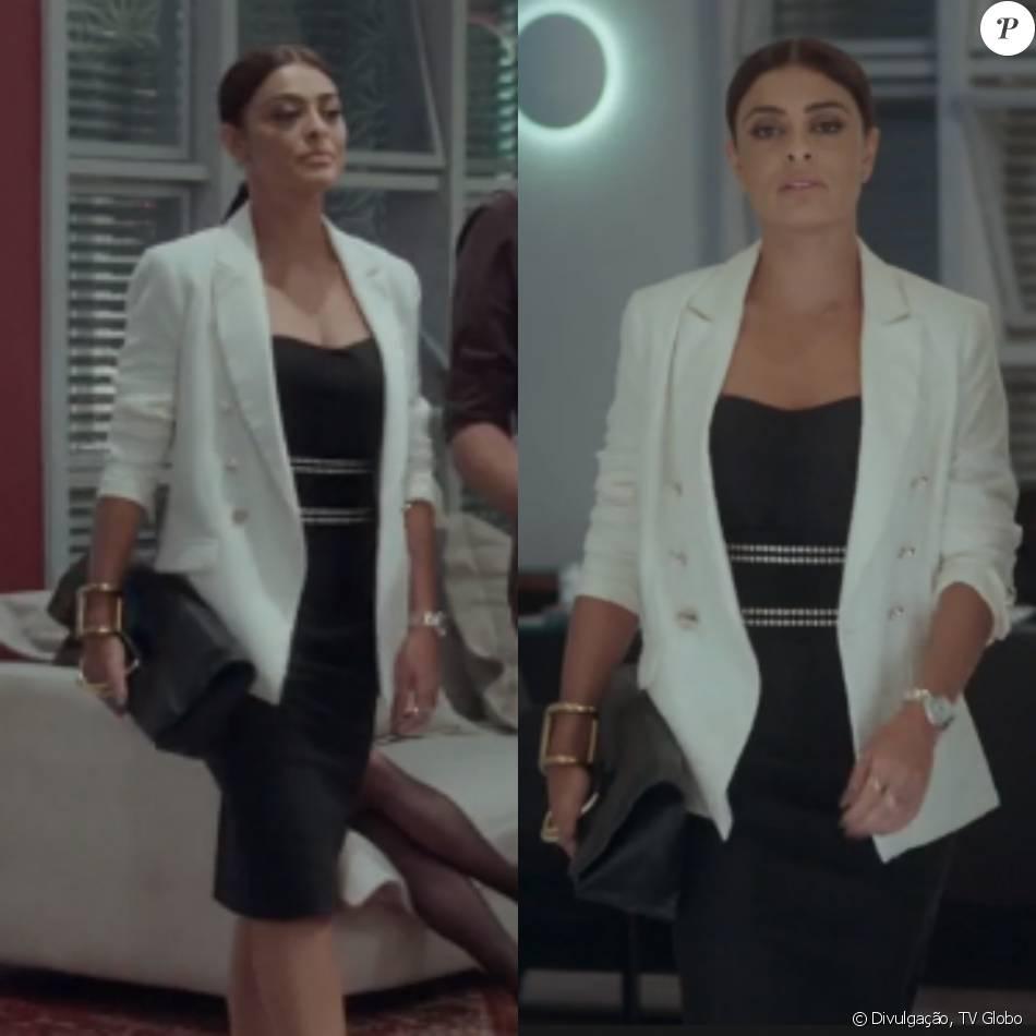 43d6fe1ea O vestido tubinho com detalhes de tachas combinado com blazer branco foi  adequado para um dia de reuniões da Totalmente Demais, sem perder o charme