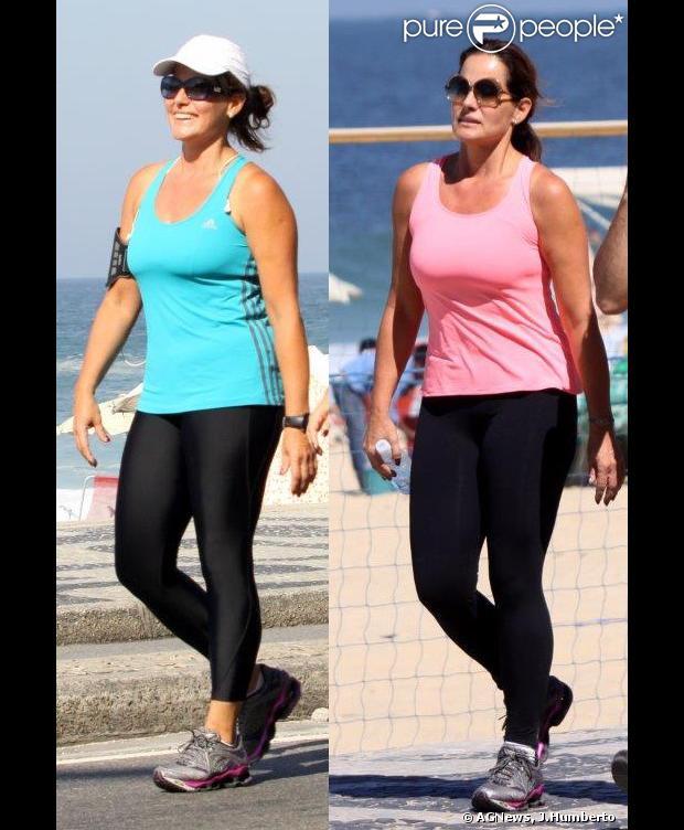 Renata Ceribelli caminha na orla de Ipanema visivelmente mais magra. À esquerda, foto da apresentadora em julho de 2013 e à direita, em agosto de 2013