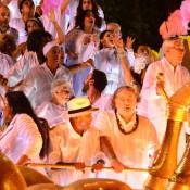 Caetano Veloso e Regina Casé desfilam na Mangueira em homenagem a Maria Bethânia