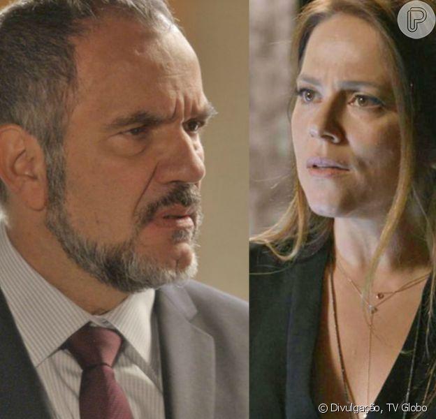 Germano (Humberto Martins) vai revelar a Lili (Vivianne Pasmanter) que foi amante de Gilda (Leona Cavalli), na novela 'Totalmente Demais'