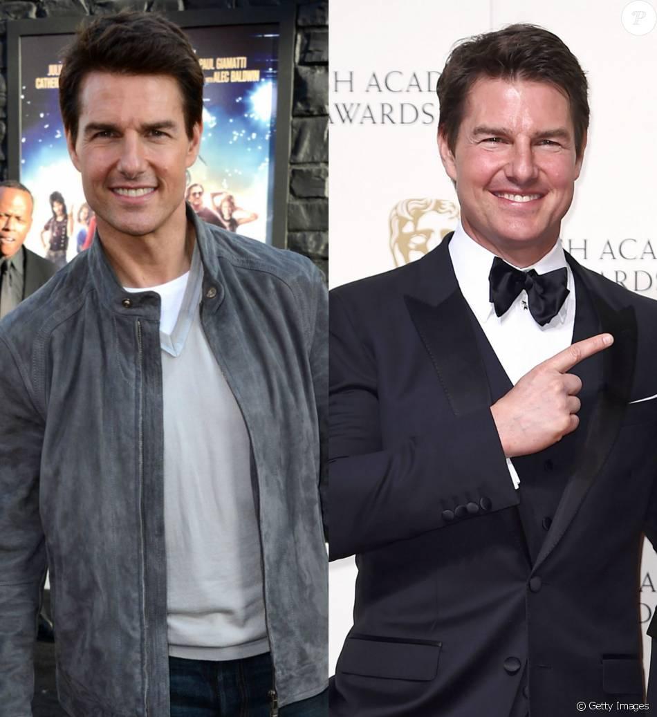 Tom Cruise em 2012 e neste domingo, 14 de dezembro de 2016, no BAFTA Awards
