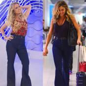 Eliana repete calça flare de R$ 370,00 usada por Grazi Massafera. Compare foto!