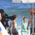 Zezé Polessa e Dani Moreno gravam 'Salve Jorge' na praia
