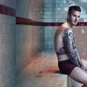 David Beckham posa de cueca em vestiário antigo para catálogo de roupas