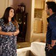 Perséfone (Fabiana Karla) diz a Daniel (Rodrigo Andrade) que quer dar um tempo e pede que ele vá embora de seu apartamento, em 'Amor à Vida'