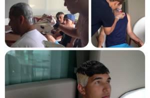 Neymar pinta cabelo de amigo de loiro: 'Galera entrou na onda', diz jogador