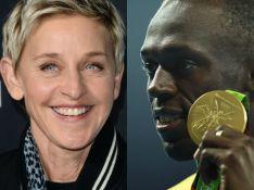 Ellen DeGeneres é carregada por Usain Bolt em montagem e web acusa racismo