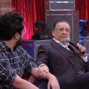Galvão Bueno conhece criador do 'Cala a boca, Galvão', na TV: 'Levei na boa'