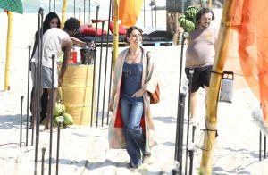 Bruno Gagliasso e Giovanna Antonelli gravam 'Sol Nascente' em praia do RJ. Fotos