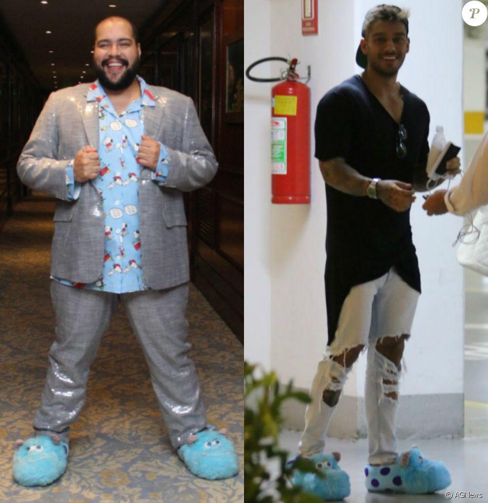 Tiago Abravanel repete pantufa usada por Lucas Luccono show Rio Bossa Club, na noite desta quarta-feira, 14 de setembro de 2016, no Copacabana Palace, Rio de Janeiro