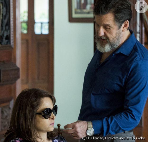 Vânia (Drica Moraes) grava conversa para comprometer o marido, Antenor (Antonio Calloni), na reta final da minissérie 'Justiça'
