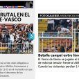 """O jornal espanhol """"Marca"""" destacou a """"violência desatada"""" do episódio e destacou na capa do seu site uma galeria de fotos da briga"""
