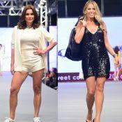 Flávia Alessandra e Adriane Galisteu desfilam com looks curtinhos em SP. Fotos!