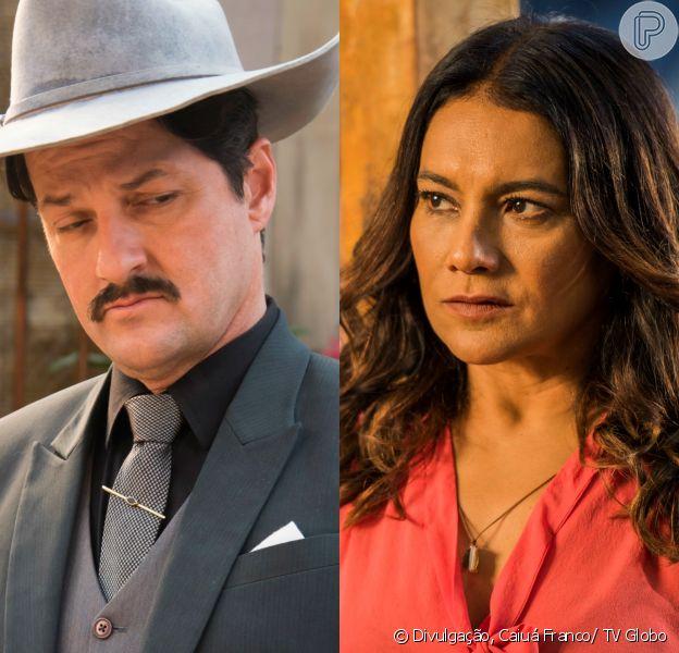 Beatriz (Dira Paes) e Carlos (Marcelo Serrado) se enfrentam diante do povo de Grotas, nos últimos capítulos da novela 'Velho Chico', que termina dia 30 de setembro de 2016