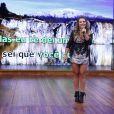 Fernanda Souza também se divertiu cantando uma música de seu noivo, Thiaguinho. O pedido, feito pelo próprio cantor em uma mensagem exibida no telão