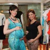 Grávidas, Bárbara Borges e Larissa Maciel se encontram em loja de gestantes