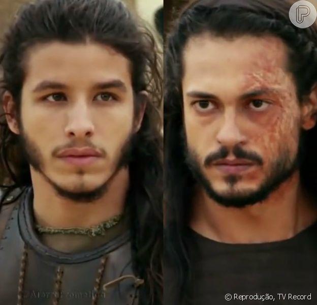 Tobias (Ricky Tavares) é ferido por Yussuf (Iran Malfitano) após ter armas sabotadas por Tobias (Raphael Viana), na novela 'A Terra Prometida'