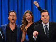 Gisele Bündchen se diverte em programa de TV ao lado de Matthew McConaughey