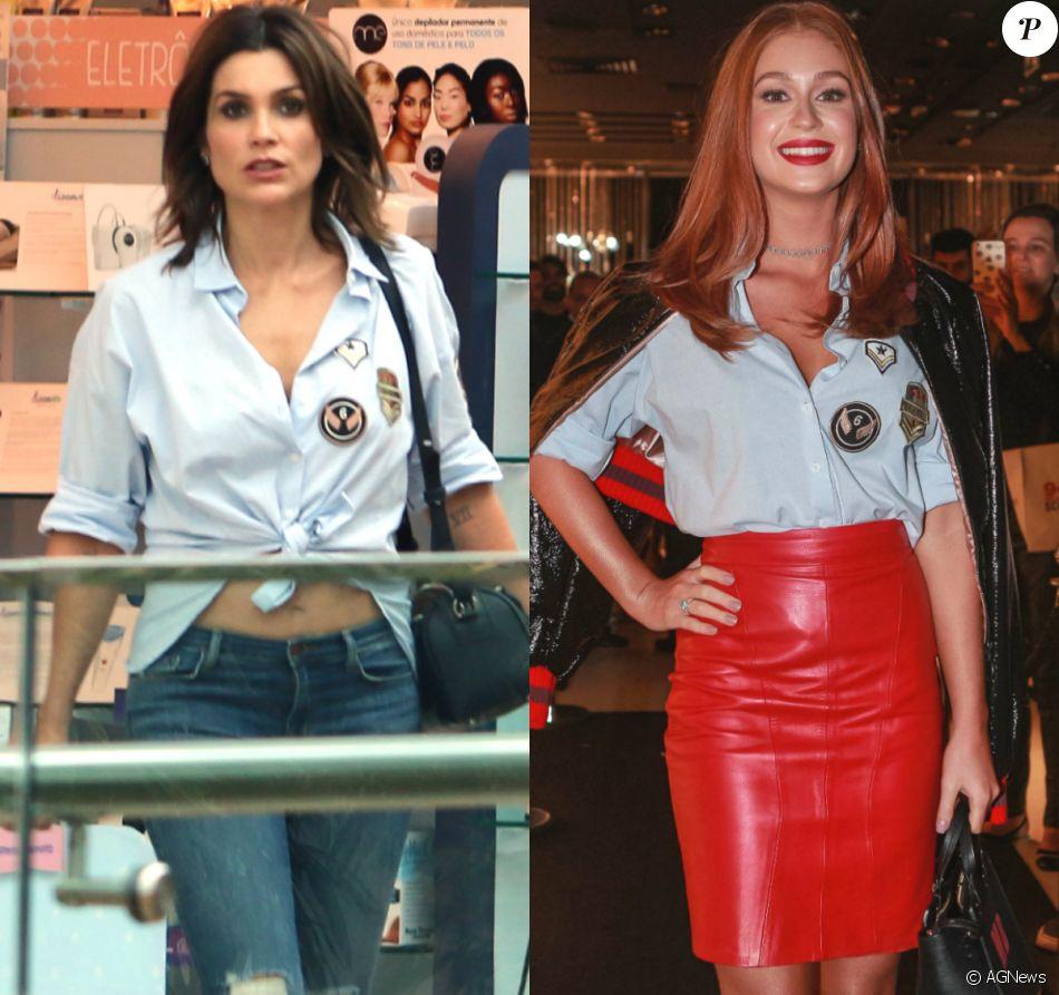 Flávia Alessandra X Marina Ruy Barbosa: atrizes repetem camisa em look