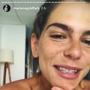 Namorada de Cauã Reymond, Mariana Goldfarb rebate crítica por sobrancelha. Vídeo