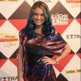 Lua Blanco posa com seu look H&M no Prêmio Extra de TV, em 29 de novembro de 2016