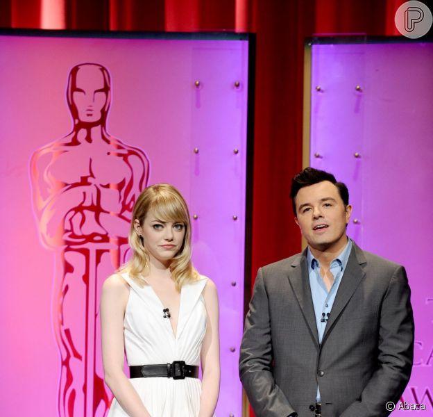 Emma Stone e Seth MacFarlane anunciaram os indicados ao Oscar 2013 nesta quinta-feira, 10 de janeiro de 2013