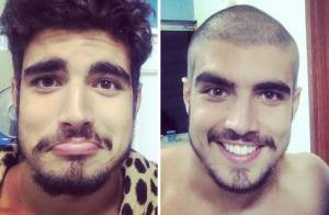 Caio Castro raspa o cabelo em 'Saltibum'. Luciano Huck exibe foto do novo visual