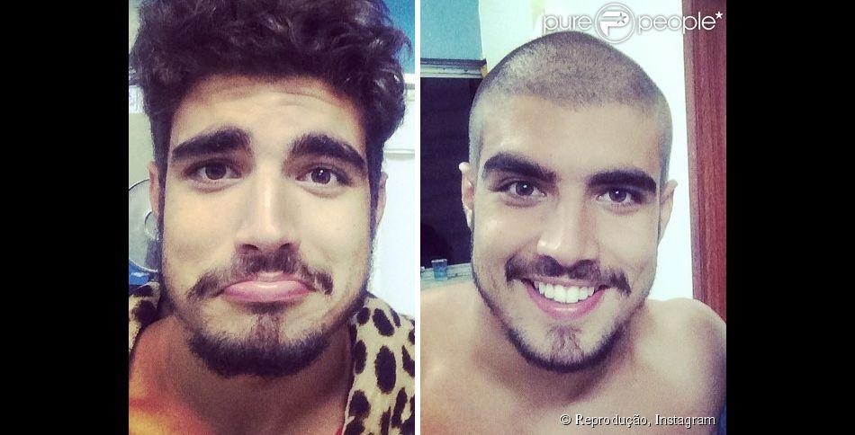 Caio Castro raspa o cabelo em gravação de 'Saltibum'. Luciano Huck mostra o novo visual do ator em 20 de fevereiro de 2014