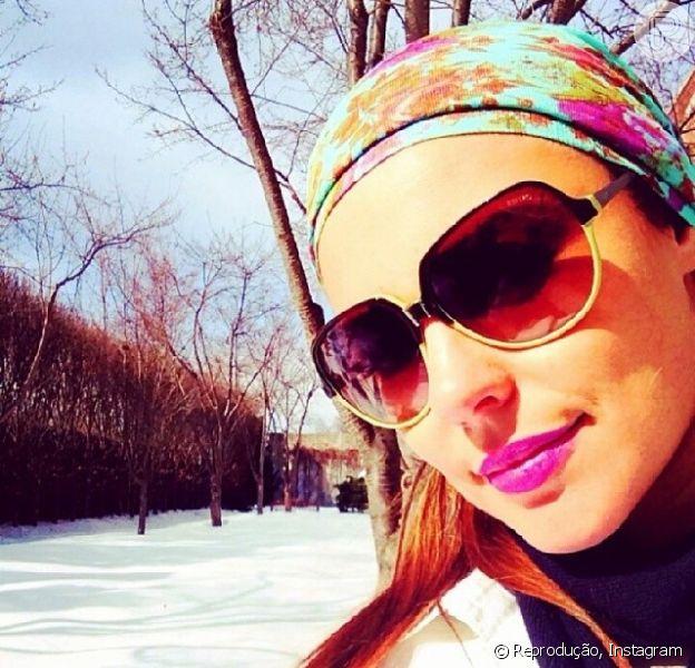 Paolla Oliveira passa o carnaval em Nova York. A atriz postou uma foto da paisagem com neve