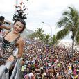 Sheron curtiu o sábado de carnaval no bloco da Favorita, em São Conrado, no  Rio de Janeiro
