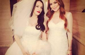Lindsay Lohan usa vestido de noiva em gravação da sitcom '2 Broke Girls'