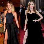 Letícia Birkheuer refaz no Fashion Rio pose sensual de Angelina Jolie