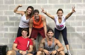 Reynaldo Gianecchini pratica crossfit em academia com Giovanna Antonelli