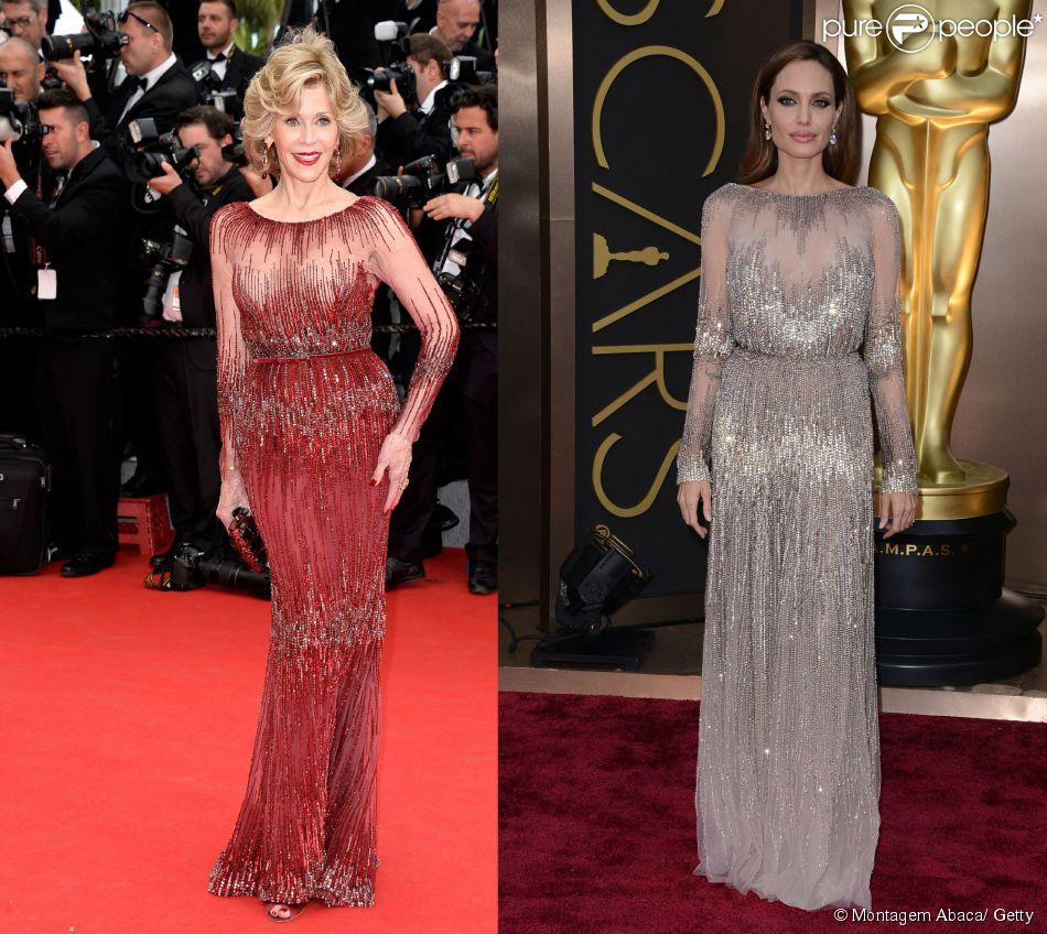 Jane Fonda, de 76 anos, usa o mesmo vestido no Festival de Cannes 2014 que Angelina Jolie escolheu para o Oscar deste ano, em 14 de maio de 2014