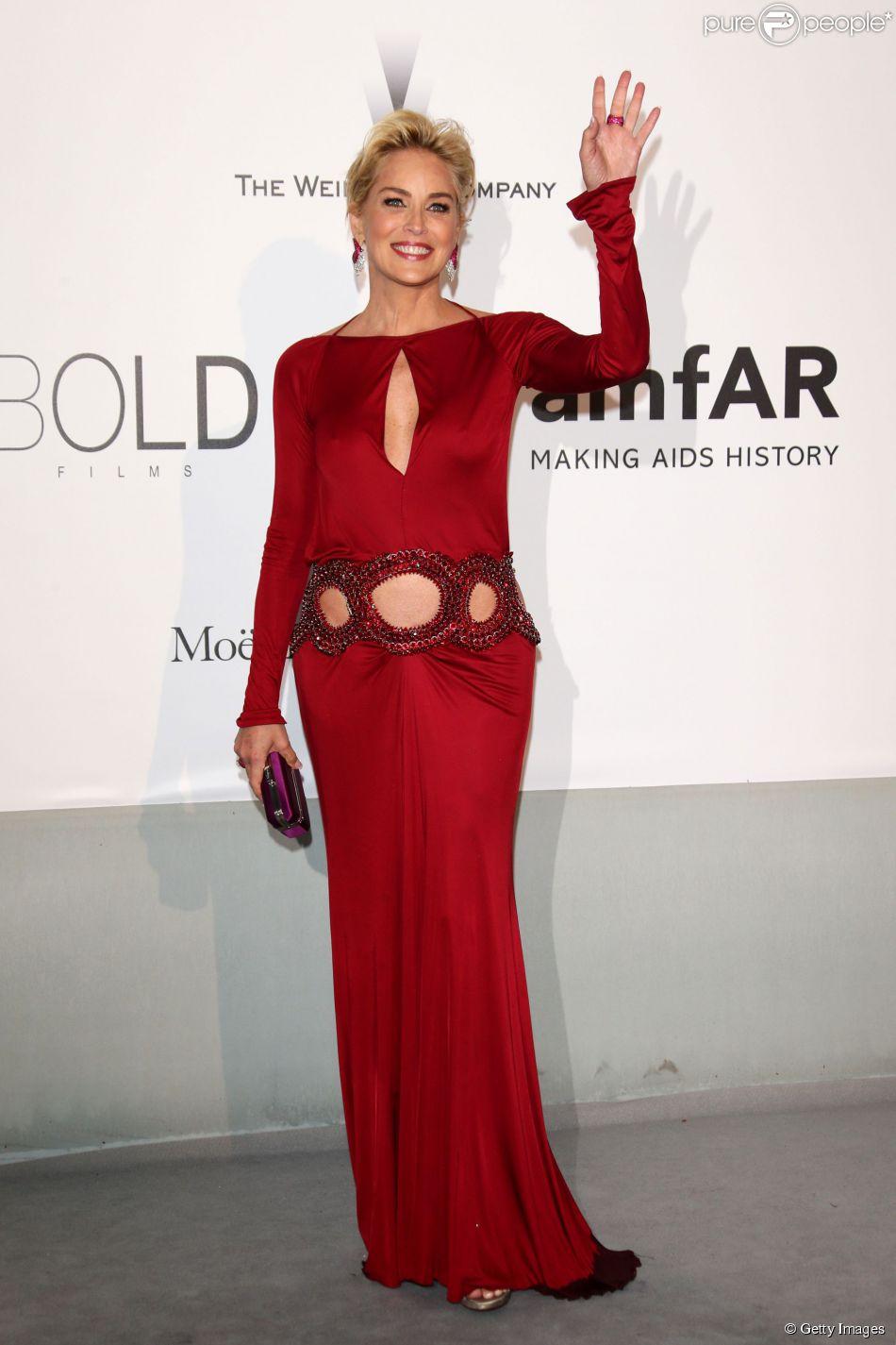 Sharon Stone veste Roberto Cavalli no baile da amfAR durante o Festival de Cannes 2014