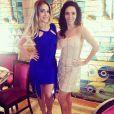 Monique Alfradique e Claudia Ohana posaram juntas durante a gravação da nova vinheta do 'Dança dos Famosos'