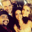 'Encontro com os amigos', comemorou Monique Alfradique ao lado de Claudia Ohana, Tiago Abravanel e Daniel Boaventura