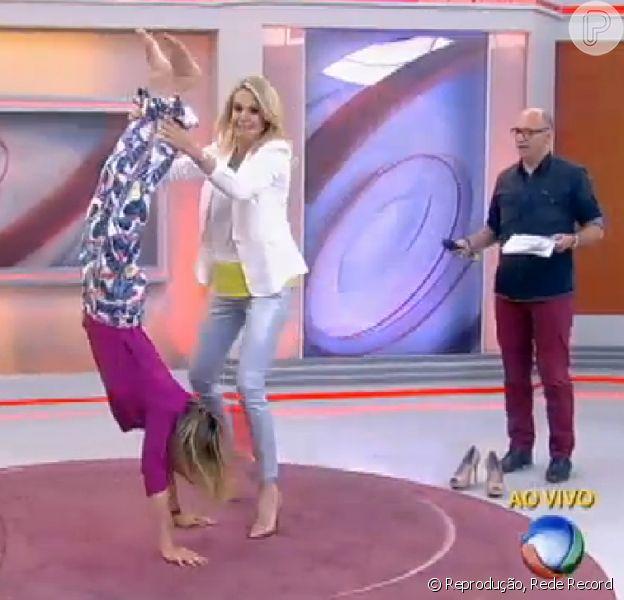 Ticiane Pinheiro 'planta bananeira' na TV: 'Sempre quis trabalhar em circo' (14 de agosto de 2014)