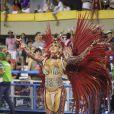 Angela Bismark saiu pela Mocidade, escola que homenageou o Rock in Rio