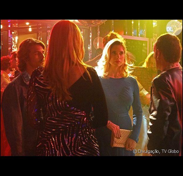 Fernando (Marco Ricca) se irrita ao encontrar Gilda (Leticia Spiller) na inauguração do Sushi Bar na discoteca, em 'Boogie Oogie'