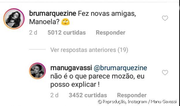 Bruna Marqueizine brinca em foto de Manu Gavassi  com famosas