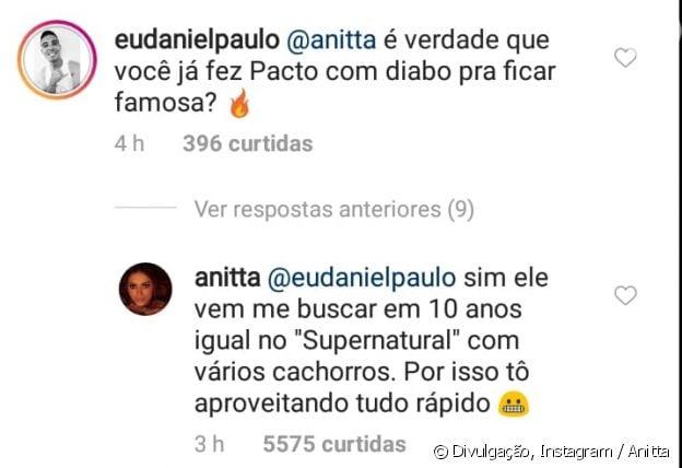 Anitta responde fã sobre pacto com diabo