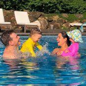 Família reunida! Teló curte piscina com Thais Fersoza e os filhos: 'Tanto amor'