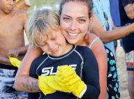 Carol Dantas e o filho, Davi Lucca, ajudam em limpeza de praia de Noronha. Fotos