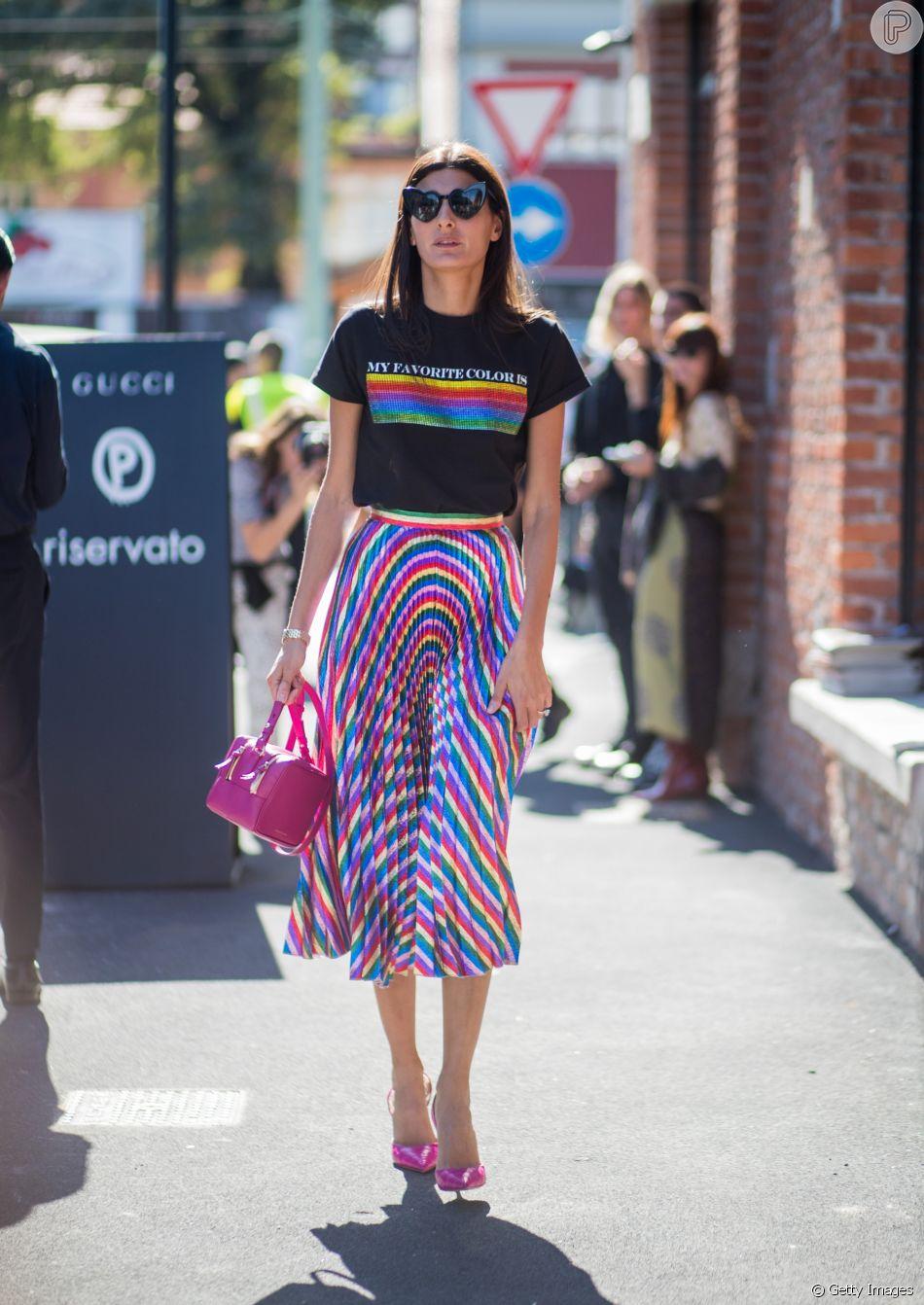 Giovanna Battaglia apostou no mood arco-íris