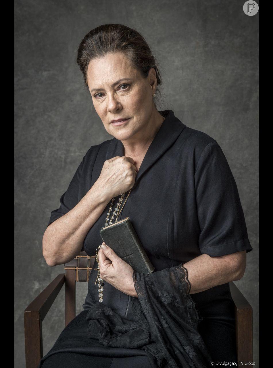 Segredo do passado de Mirtes (Elizabeth Savala) vai ser revelado nos próximos capítulos da novela 'O Sétimo Guardião': beata fugiu com o amante, Mattoso (Tuca Andrada)