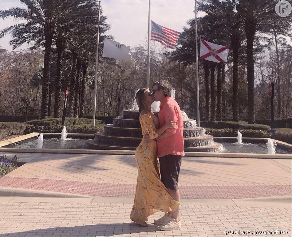 Viagem romântica! Eliana beija o noivo, Adriano Ricco, em série de fotos neste sábado, dia 09 de fevereiro de 2019