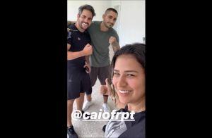 De volta aos treinos! Simone malha com marido, Kaká Diniz: 'Quero emagrecer'